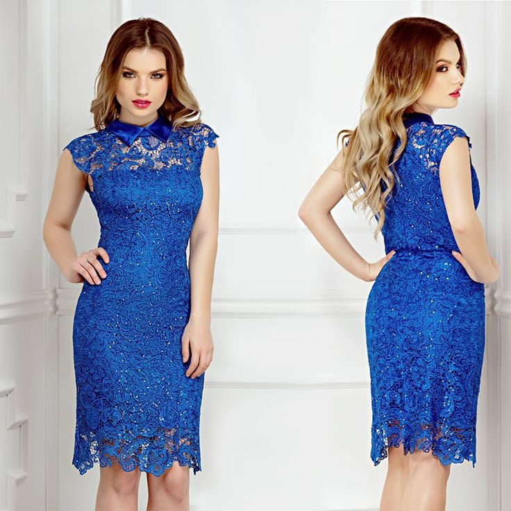 Short blue lace evening dress with sequins embroidery and satin collar: https://missgrey.org/en/dresses/blue-evening-lace-dress-with-sequins-embroidery-and-sequins-collar-nancy/513?utm_campaign=aprilie&utm_medium=rochie_nancy_albastra&utm_source=pinterest_produs