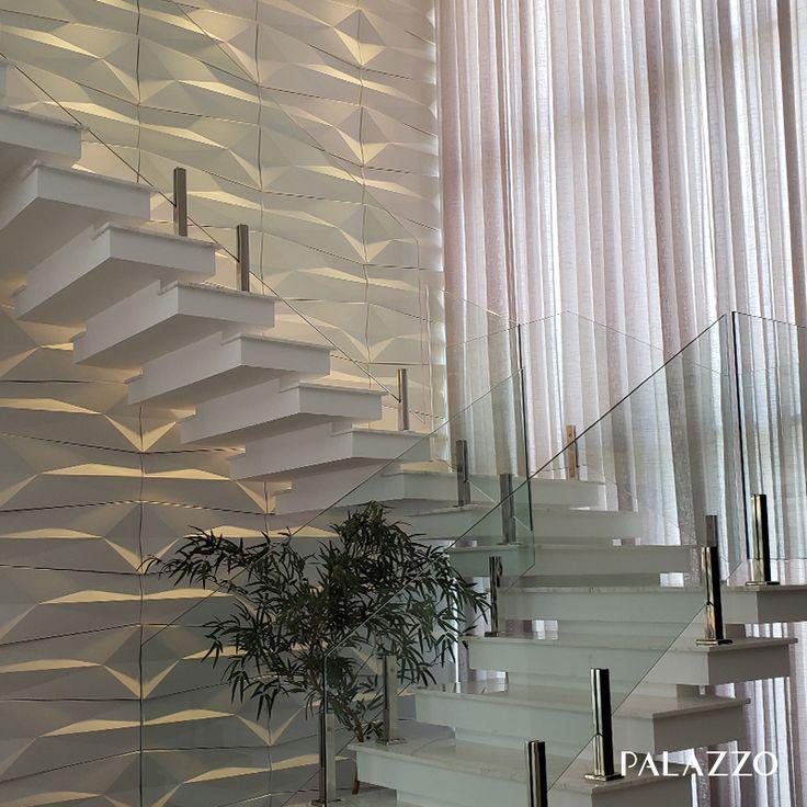 Este revestimento 3D traz a nobreza do design de origami para as paredes do …   – parede da escada