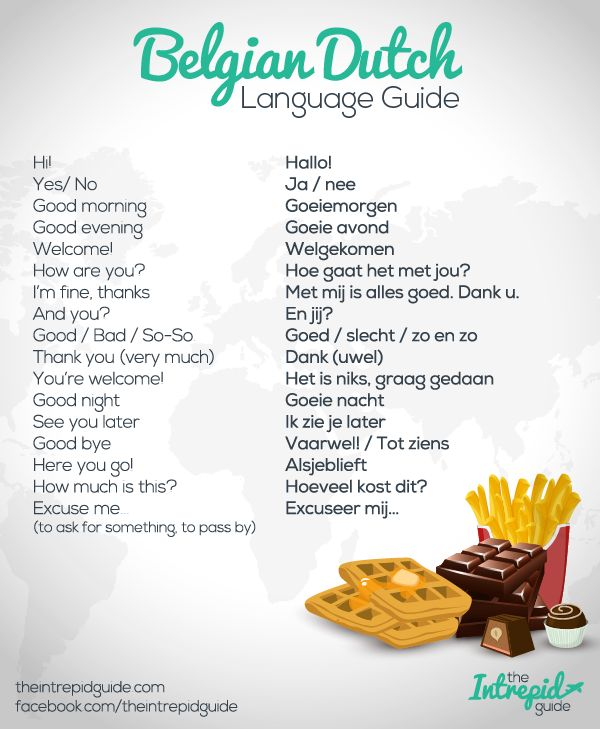 Flemish Dutch Language Guide. Click for more phrases and history.