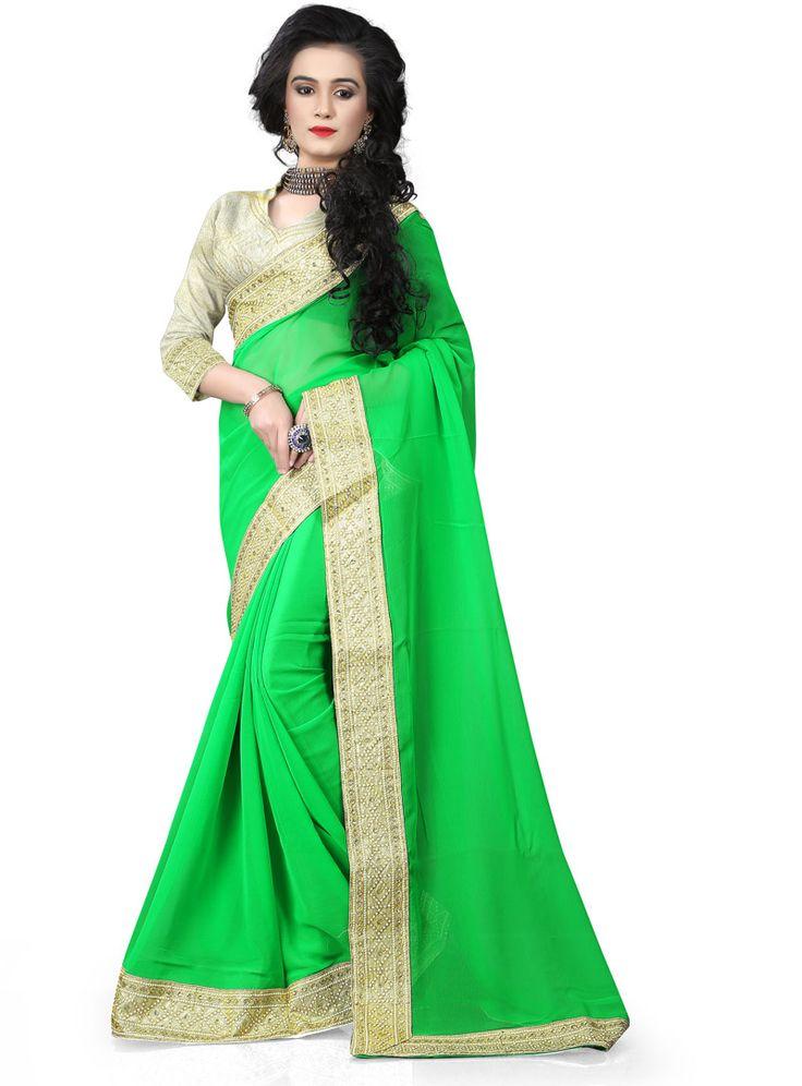 Green Chiffon Saree With Blouse 80091