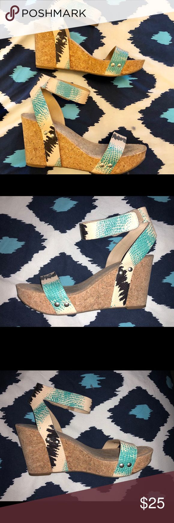 Lucky Brand blue and white wedge sandals-near new! - These wedges are PERFECT for spring! - Only worn once and in great condition. - Heel height is 4 inches. Toe platform is 1.25 inches. - Velcro closure at the ankle. - Leather upper. Sole has cork appearance. Lucky Brand Shoes Wedges