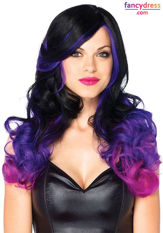 Perfect for glamour witch, Cheshire cat, and many more Halloween looks or just for going out in the evenings. This beautifully styled wig from Leg Avenue features curly black hair with dip dyed effect purple tips. http://www.fancydress.com/costumes/Allure-Black/Purple-Wig/0~167983