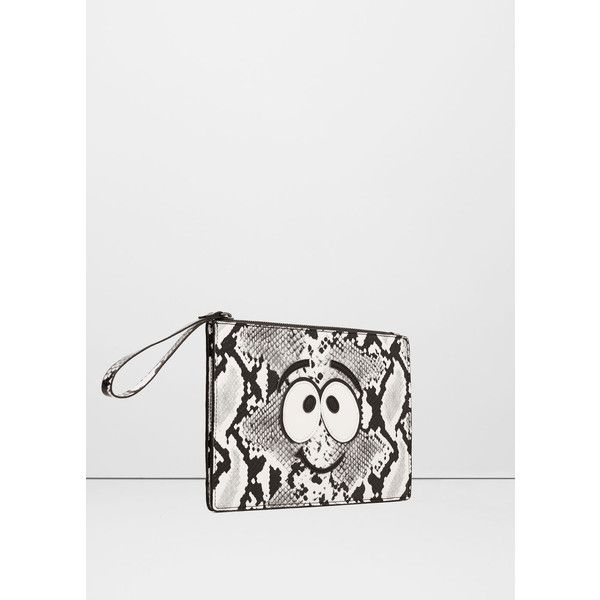MANGO Patch Snake-Print Clutch ($26) ❤ liked on Polyvore featuring bags, handbags, clutches, mango purse, mango handbags, zip purse, zipper handbag and snake print purse