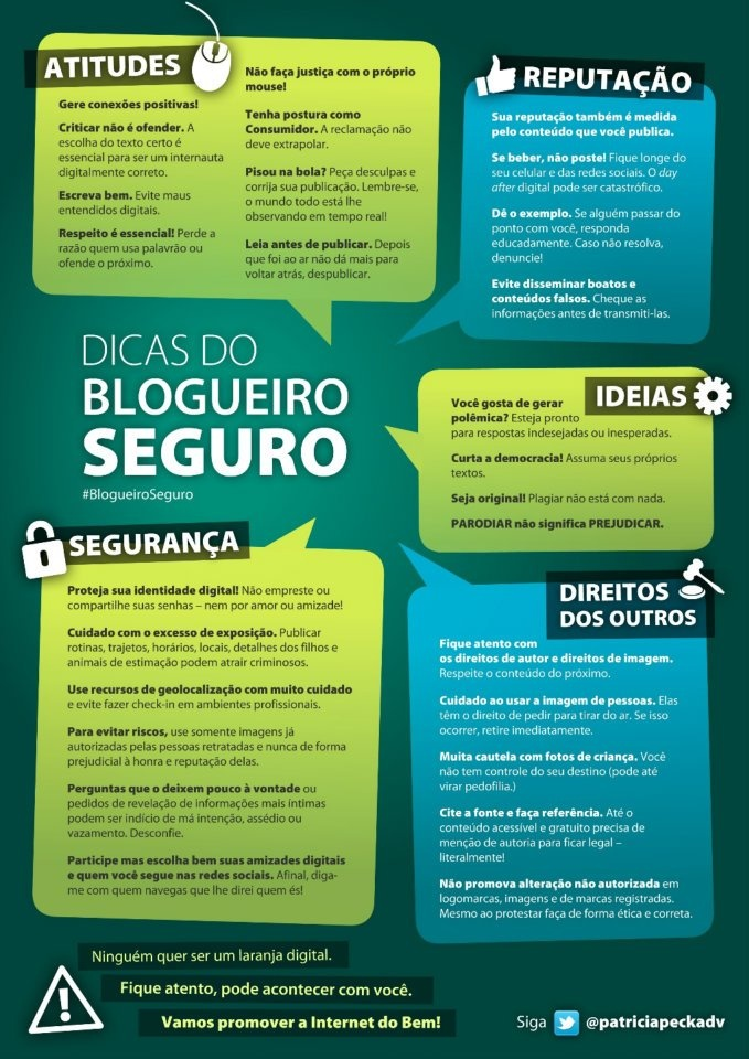 Infográfico sobre boas práticas e dicas de segurança para blogueiros