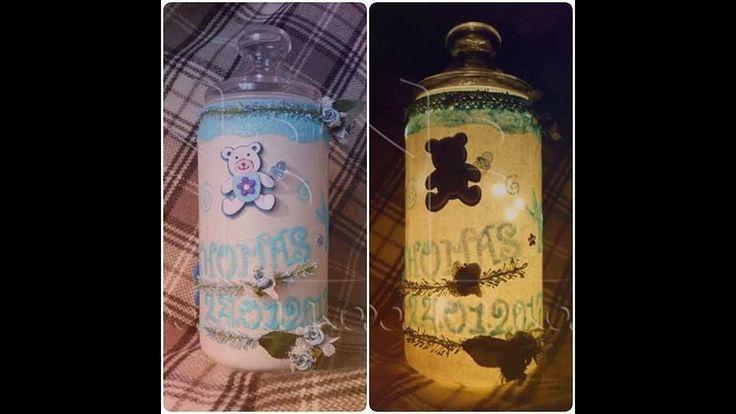 Tutorial Lanterna Biberon Artigianale per Battesimo(Luce Notturna)   DIY   Jar   Embossing.