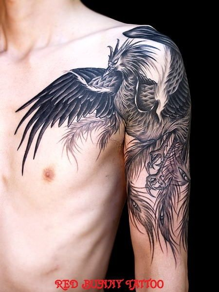 Love phoenix tattoo designs, this one would also work as a cover up on the tribal on my arm!