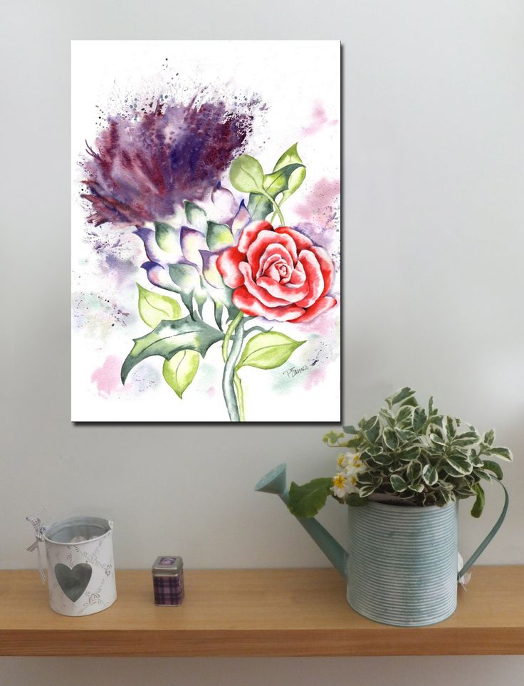 Scottish Thistle and red Rose http://www.splashyartystory.com/shop/art-prints/thistle-and-red-rose-art-print-from-painting/