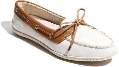 Brown and White.....Sperry Top-Sider 'Montauk' Leather Boat Shoe White/ Tan Leather