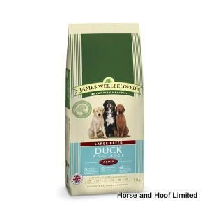 James Wellbeloved Duck Rice Adult Dog Food 15kg James Wellbeloved Duck Rice Adult Dog Food is a complete naturally hypoallergenic food that is  suitable for all adult dogs.