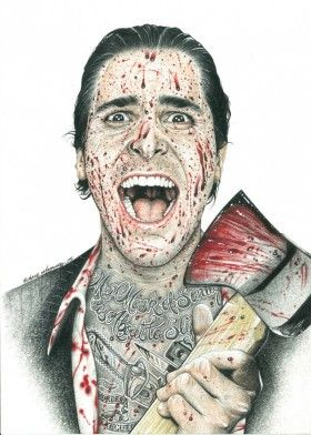 movie americanpsycho christianbale actor axe blood tattoo inked inkedikons