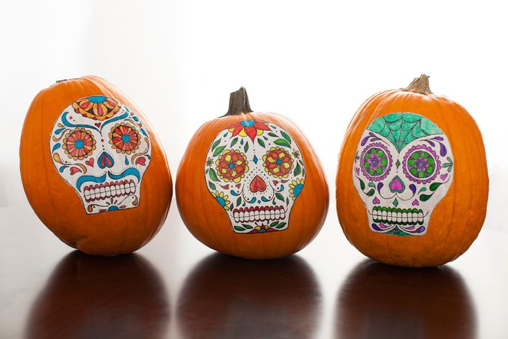pumpkins surgar skull decoration | No-Carve Sugar Skull Pumpkins |  Great way to decorate pumpkins without carving!  Print calavera free template, draw, and tape.