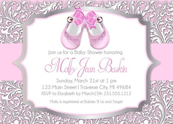 Baby Shoes Printable Shower Invitation For Girl