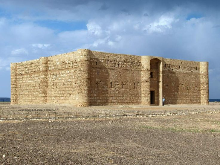 Qasr Al-Kharrana between Azraq and Amman, Jordan, is a former desert caravanserai dating from 710 AD. The 60 rooms around the central courtyard once accommodated merchants traveling between the Arabian Peninsula and Syria.