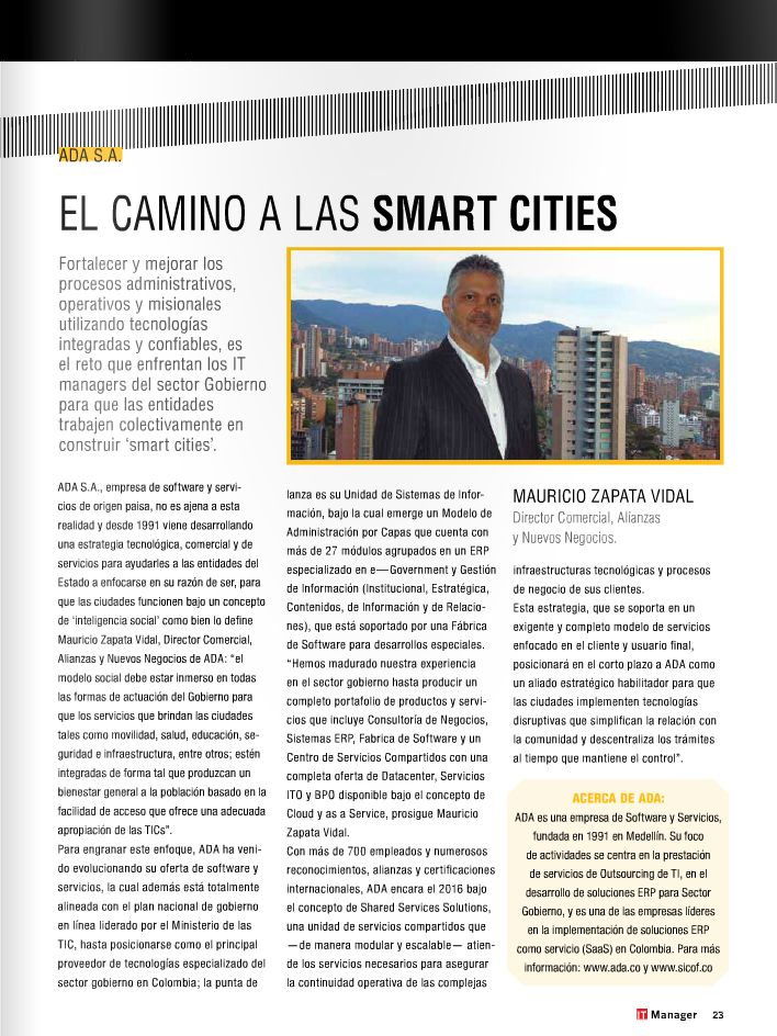 ADA S.A.: Recorriendo el camino hacia las ciudades inteligentes