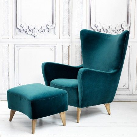 Elsa Chair and Footstool in Turquoise Velvet - View All Furniture - Furniture