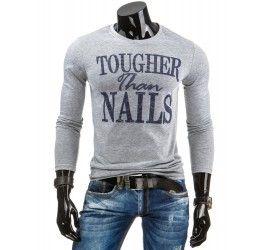 Pánské tričko s dlouhým rukávem - Bartollini, šedé | TAXIDO fashion