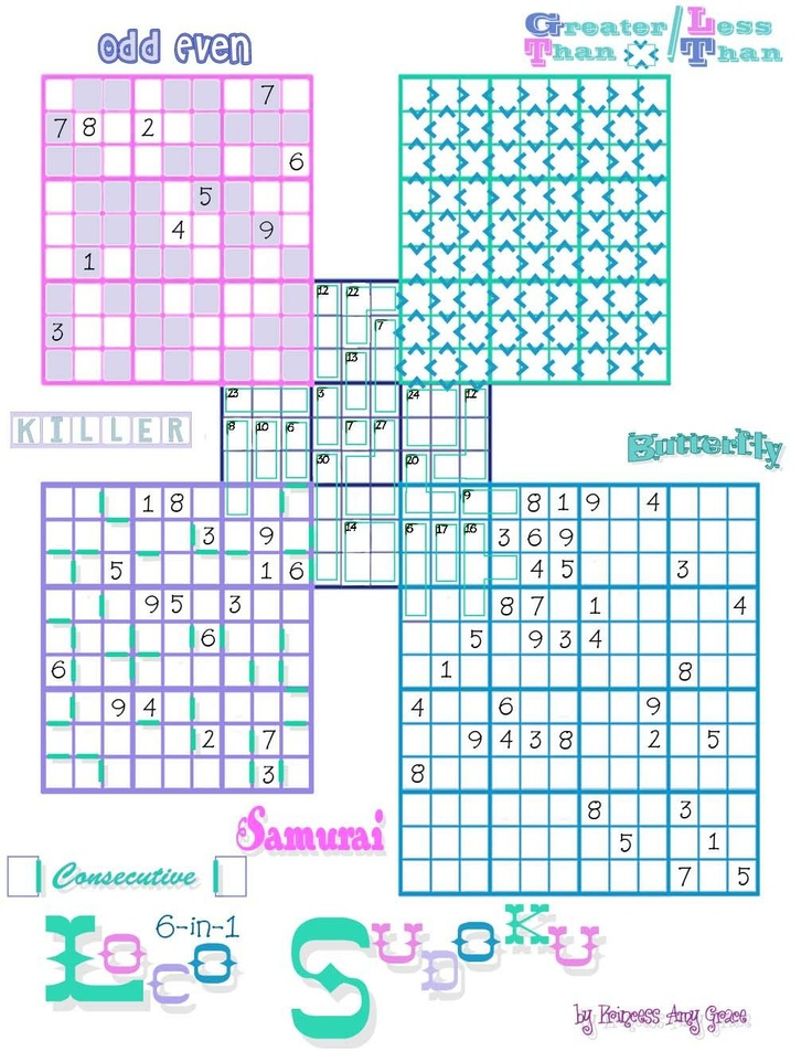 This is a photo of Unusual Multi Sudoku Printable