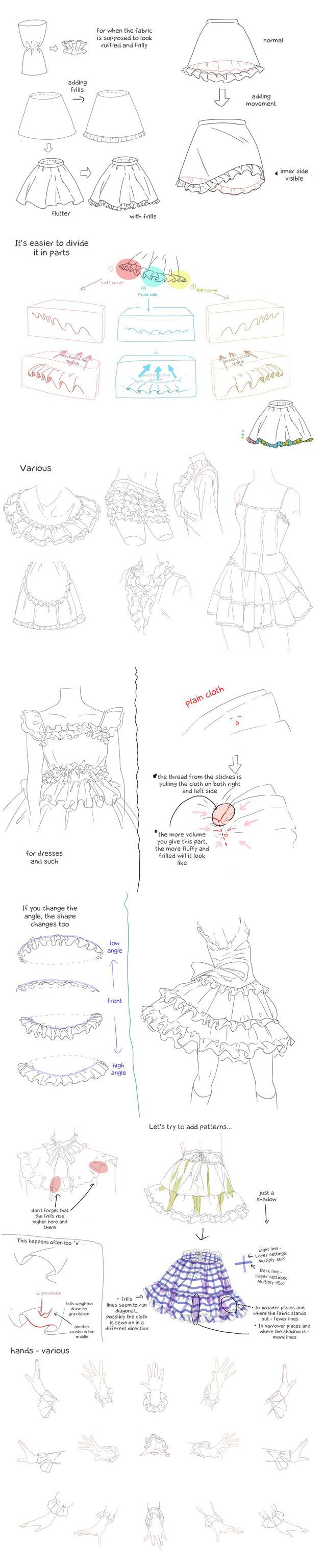 Tutorial on how to draw frilly clothing for your female characters.: