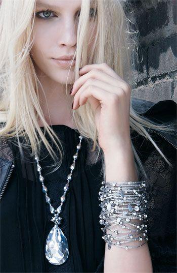 Diamond necklace and stacked bracelets