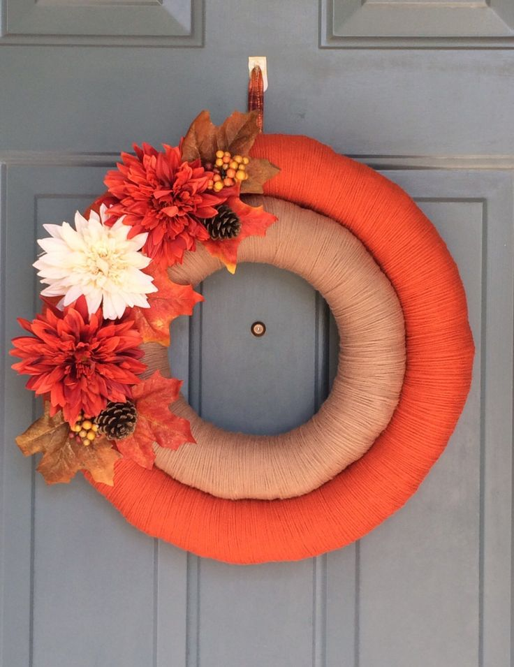 Fall Door Wreath - Fall Yarn Wreath - Double Yarn Wreath - Door Yarn Wreath - Harvest Door Hanger - Wreaths for Door - Fall Decoration by WallflowersbyKerri on Etsy https://www.etsy.com/listing/477333211/fall-door-wreath-fall-yarn-wreath-double