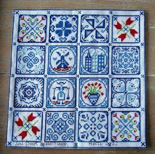 SAL Delft Blue Tiles cushion