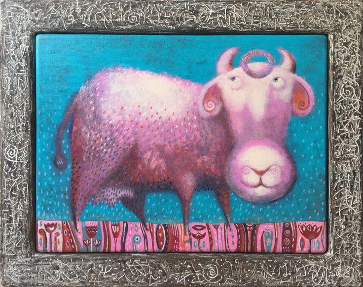 """Pavel Nikolaev, """"Pink cow"""", 60х80(80х100), oil, wood, 2015."""