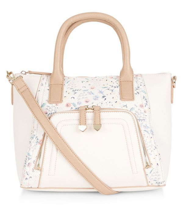 Stone Floral Print Panel Zip Pocket Front Tote Bag   New Look