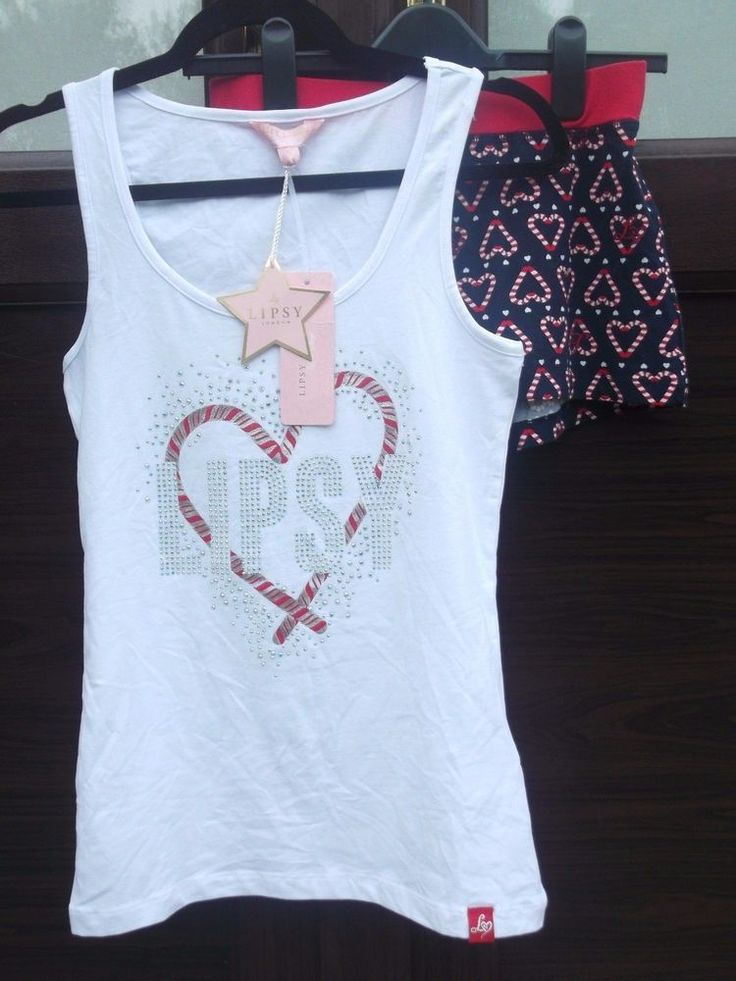 BNWT Stunning Lipsy Ladies Candy Cane Christmas Short Vest Pyjama Set Small 8/10