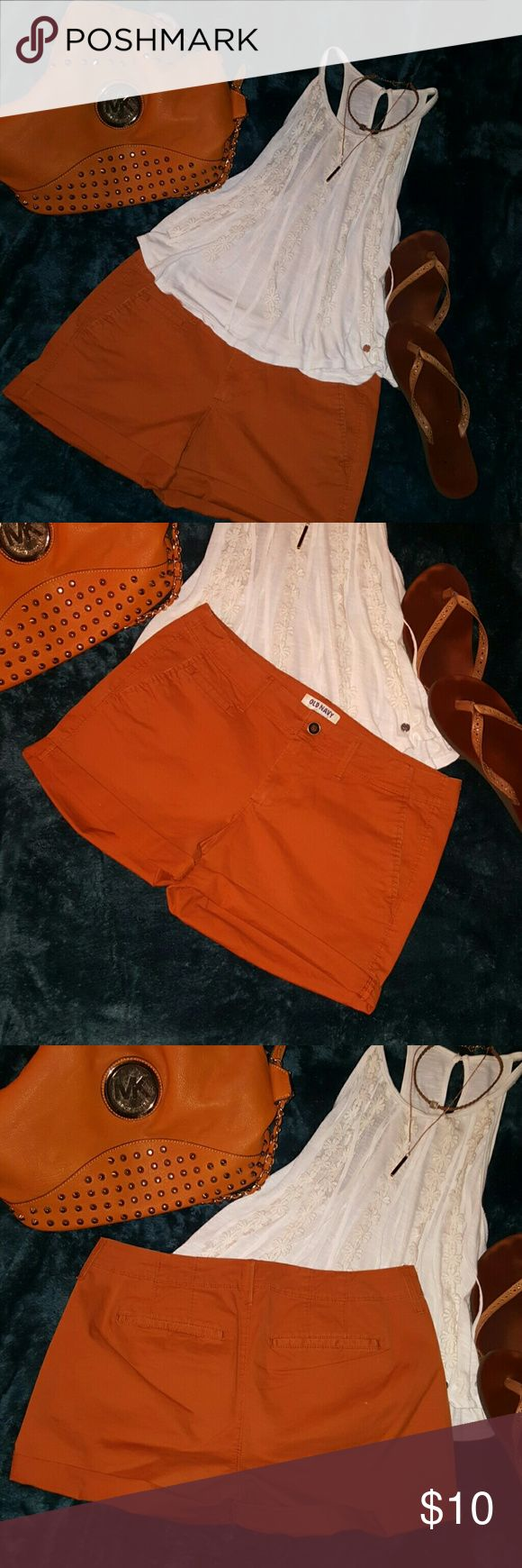 Saddle Brown Shorts Old Navy boyfriend shorts! Very cool saddle brown color that makes you look even more tan in the summer (just a perk!). Very comfortable and pairs with anything! Throw a cute denim jacket with the outfit shown and ur rockin' an eye poppin style! Old Navy Shorts