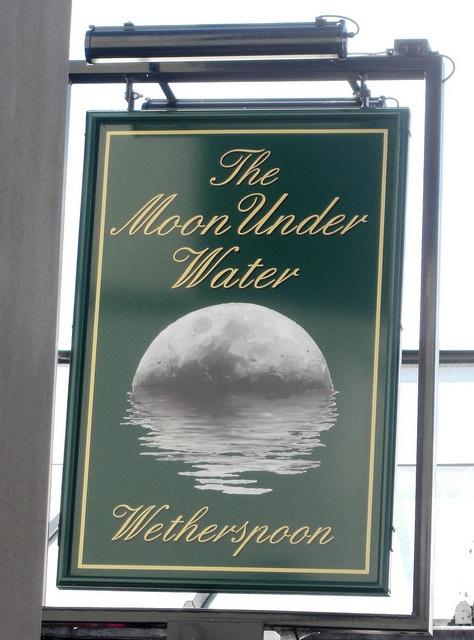 """The Moon Under Water"" pub sign - Cheltenham, UK"