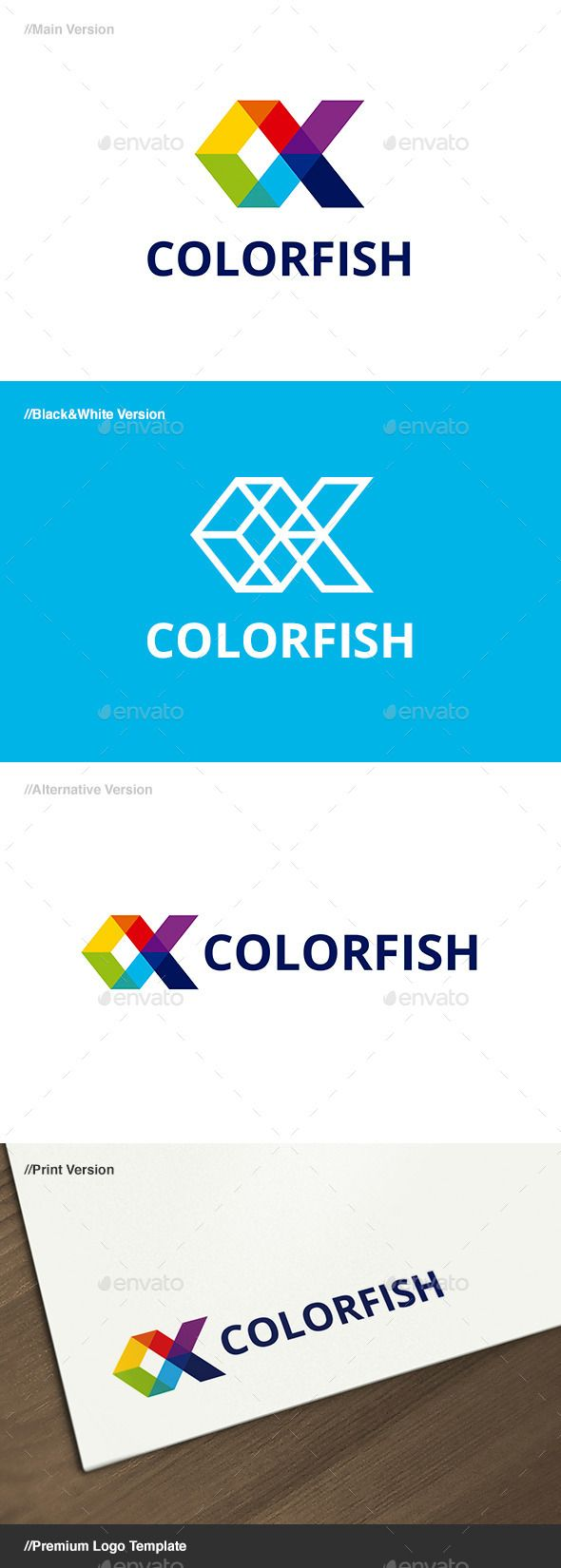 Color Fish Logo — Vector EPS #web #app • Available here → https://graphicriver.net/item/color-fish-logo/666923?ref=pxcr