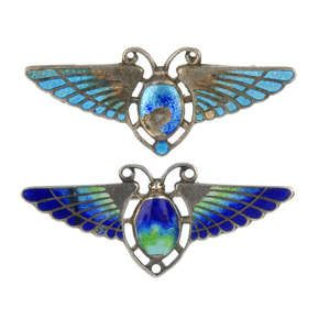 LOT:249 | CHARLES HORNER - an enamel scarab brooch, with a further brooch attributed to Charles Horner