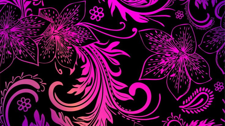 Wallpaper pink flowers, black background, textures, widescreen on the