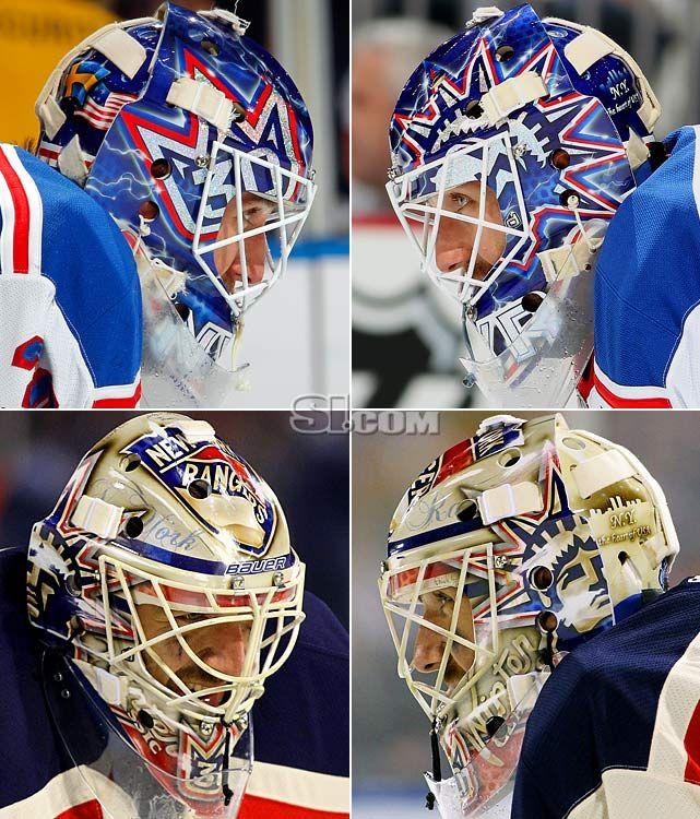 Goalie masks for every team.