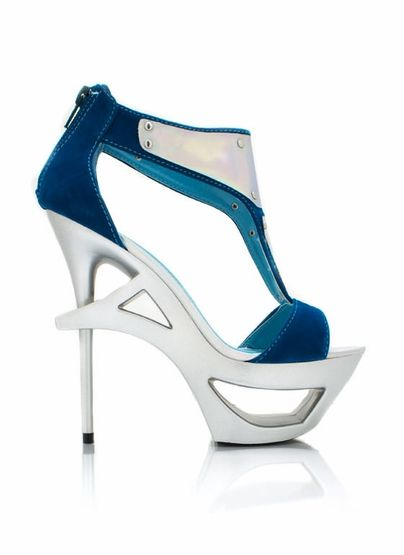 Get ready to be in the future with these open toe platforms. blue, metallic, pumps. Whoa!