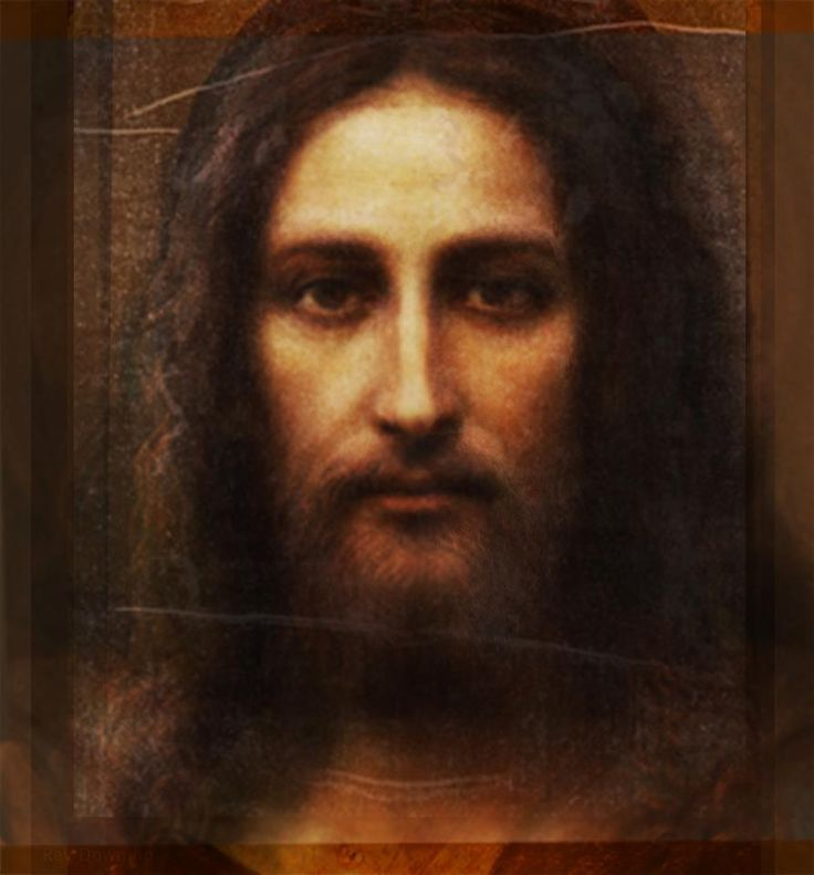 Don't think I've ever seen this painting of Jesus. Looks like it's based on the Shroud of Turin. Beautiful...