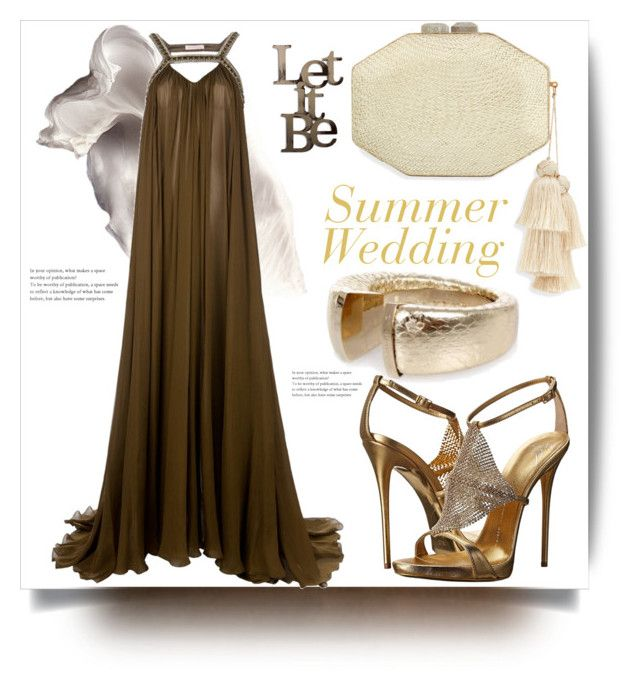 Summer Wedding by evachasioti on Polyvore featuring Matthew Williamson, Giuseppe Zanotti, Rafe, Letter2Word and summerwedding