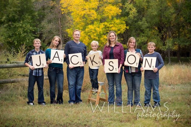 fun family picture idea .... put several letters on each for families...