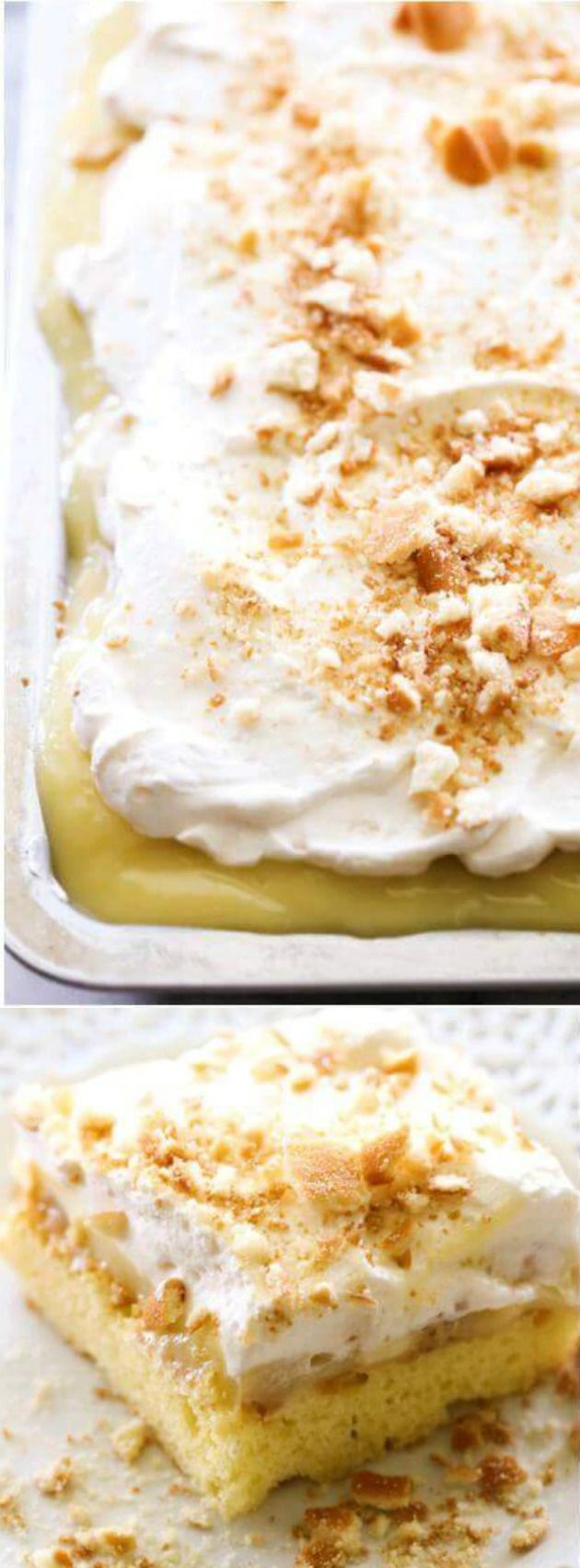 This Banana Cream Pie Sheet Cake recipe from Chef In Training is a delicious and simple sweet treat that you're really going to love! It's topped with the most incredible banana pudding and homemade whipped cream and is definitely a MUST MAKE dessert!