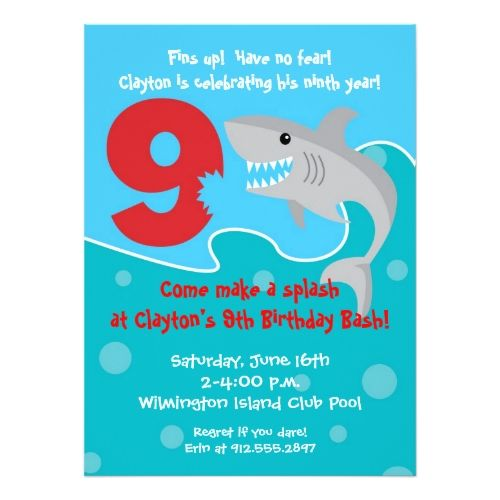 86 best shark birthday party invitations images on pinterest shark bite invite 9th birthday party card filmwisefo Images