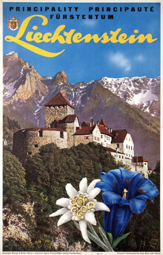 Liechtenstein, Principality - Principauté - Fürstentum (by Von Falz-fein Edward / 1967) Photo-montage poster for the Principality of Liechtenstein, an alpine country in Western Europe, bordered by Switzerland to the west and south and by Austria to the east. A travel size poster showing the Vaduz castle of the Prinz, edelweiss and gentian flowers in the foreground.