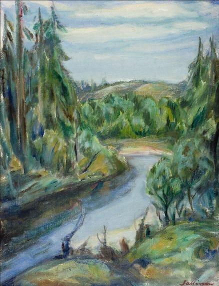 TYKO SALLINEN Jokimaisema Kuusamosta (River Landscape, 1955)