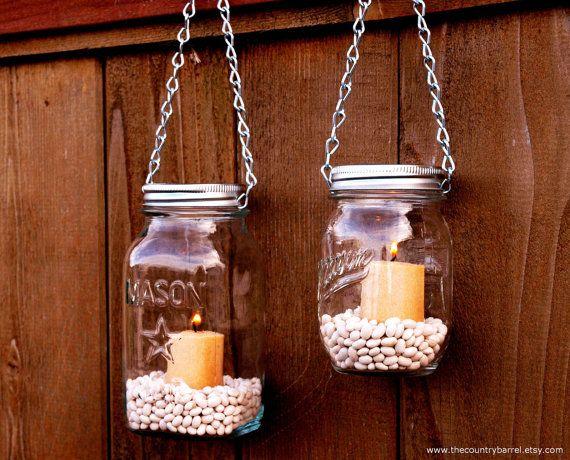 Love the canning jars!: Crafts Ideas, Canning Jars, Gardens Lights, Mason Jar Garden, Mason Jars Gardens, Mason Jars Lanterns, Hanging Mason Jars, Mason Jars Candles, Diy