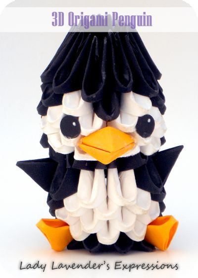 "3D Origami Penguin. This is a very fun 3D Origami ""pattern"" to make. It's not too hard although it is a bit time-consuming. See my original post here: http://ladylavendersexpressions.blogspot.com/2013/05/crafty-creations-3d-origami-penguin.html"