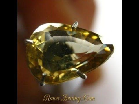 Batu Permata Natural Zircon Pear Cut Greenish Yellow 2.37 carat
