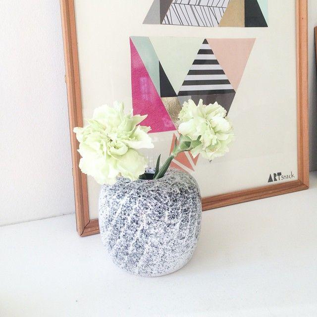 Aalstrup keramik vase, så fin i sort/hvid farver - 95kr