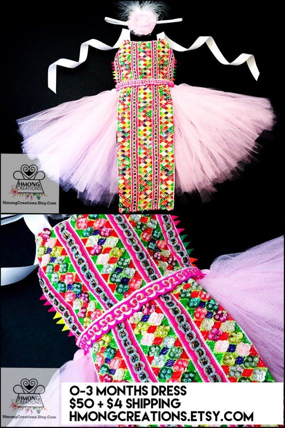 A For 0-3 months hmong inspired baby dress Hmong Creations | Hmong