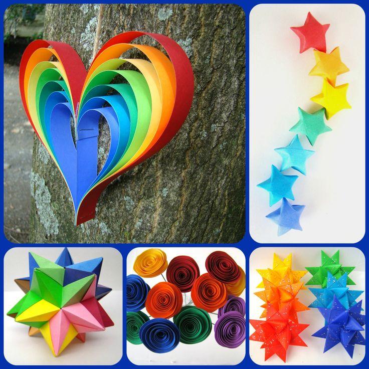 Eine ganze Reihe von Rainbow themenbezogene Goodies, perfekt für Ihre Hochzeit, Kunst Party, Regenbogen-Partei und mehr!  Set beinhaltet Folgendes: 1-5 lange Rainbow Heart Garland an Bindfäden 12 Spirale Blüten mit 9 Stielen in Regenbogenfarben (BrightsFarbpalette, mit Edelsteinen, wie im letzten Bild) 100 Lucky Stars in Regenbogenfarben (6 Farbe Rainbow) 30 Rainbow Glücksstern PartyPicks 6 - Herrnhuter Sterne in Regenbogenfarben (mit Silber Glitter) 1-11 Modulare Star Ball in 6…