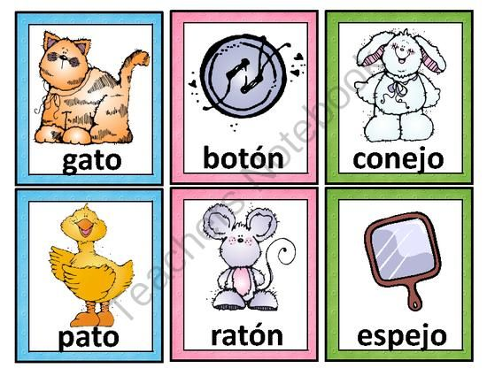 Spanish Rhyming Words. Tarjetas de palabras que riman from Mrs. G. Dual Language…