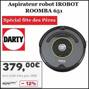 #missbonreduction; Spécial fête des Pères: 12% de réduction sur l'Aspirateur robot IROBOT ROOMBA 651. http://www.miss-bon-reduction.fr//details-bon-reduction-Darty-i268-c1834328.html